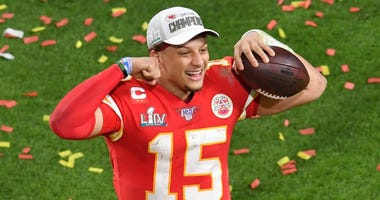 Chiefs quarterback Patrick Mahomes celebrates after Kansas City won the Super Bowl.