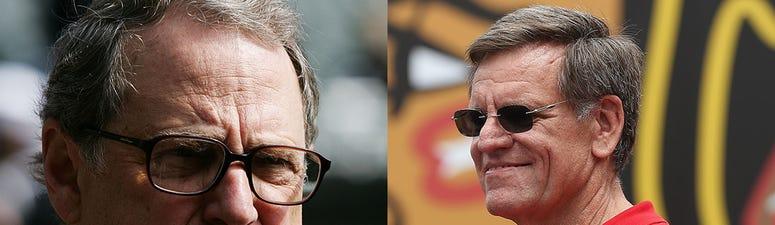Left: Bulls and White Sox chairman Jerry Reinsdorf. Right: Blackhawks owner Rocky Wirtz