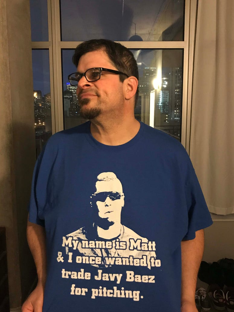 Matt Spiegel in his custom-made Javy Baez T-shirt