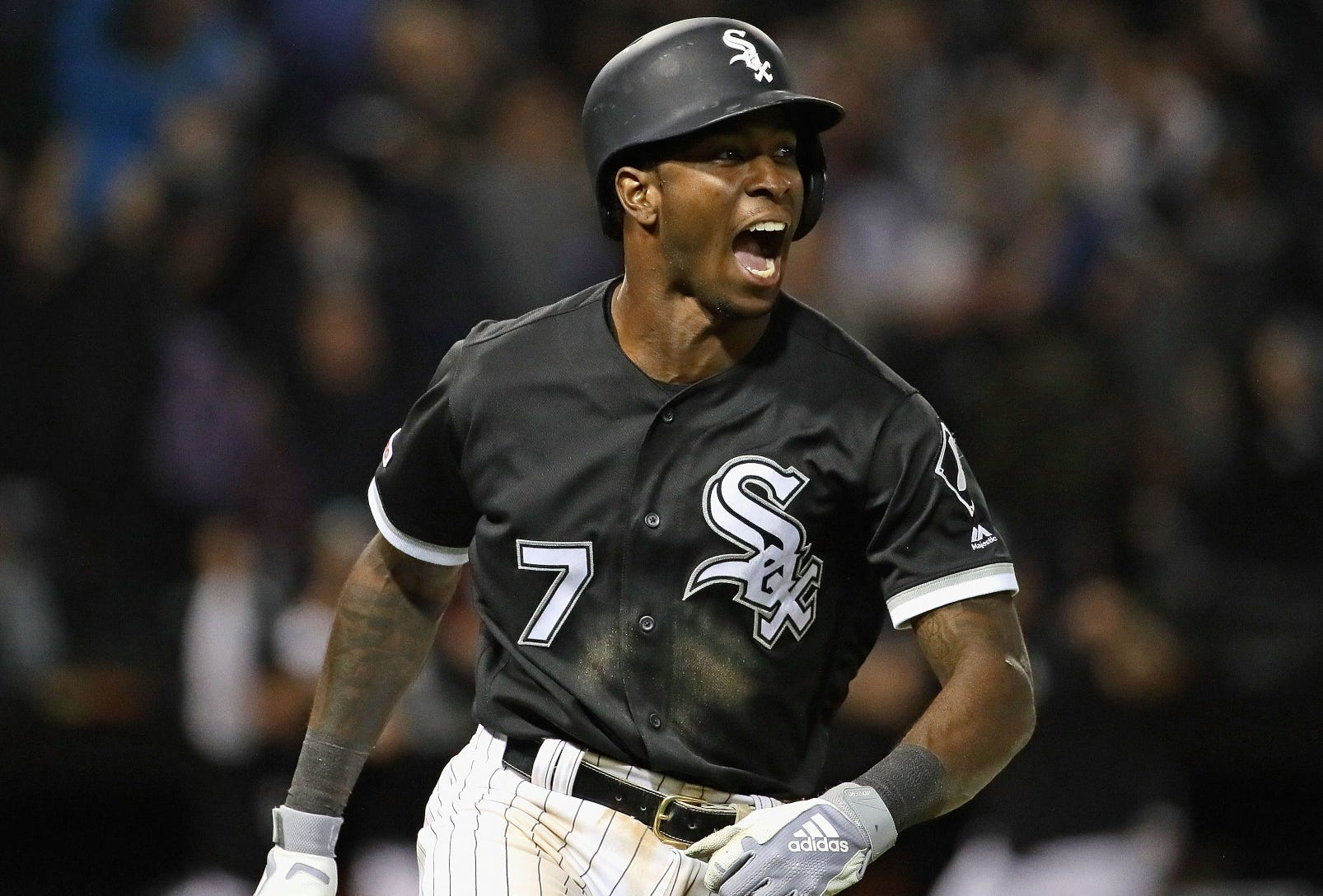 CHICAGO, ILLINOIS - APRIL 26: Tim  Anderson #7 of the Chicago White Sox celebrates after hitting a walk-off home run in the 9th inning against the Detroit Tigers at Guaranteed Rate Field on April 26, 2019 in Chicago, Illinois. The White Sox defeated the Tigers 12-11. (Photo by Jonathan Daniel/Getty Images)
