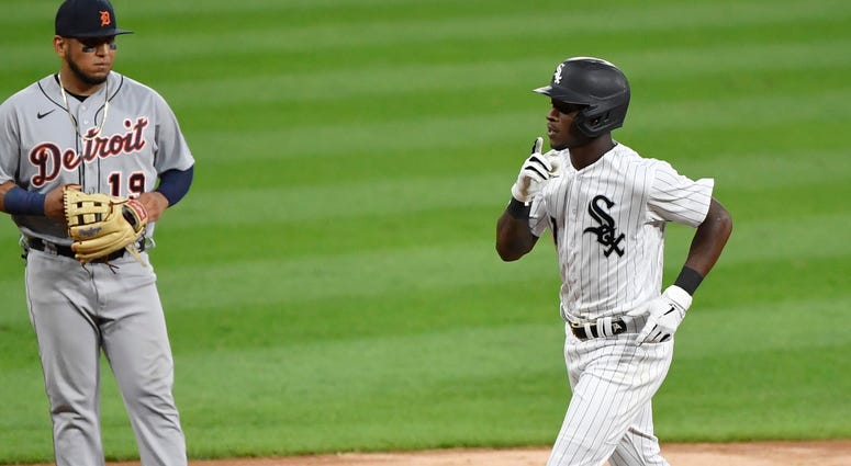 White Sox shortstop Tim Anderson trots around the bases after homering against the Tigers.