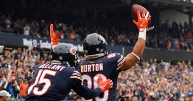 Bears tight end Trey Burton (80) celebrates after scoring a touchdown against the Buccaneers.