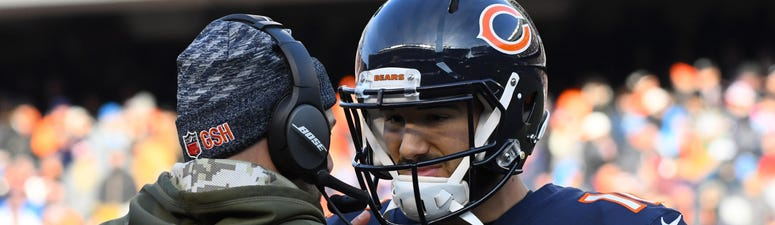Bears quarterback Mitchell Trubisky (10) talks with coach Matt Nagy.