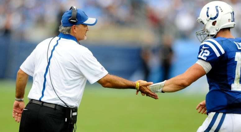 Chuck Pagano, left, and Andrew Luck in 2015