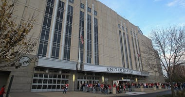 A general view of the outside of the United Center is shown before a Blackhawks game in 2011.