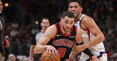 Bulls guard Zach LaVine drives the ball against the Suns.