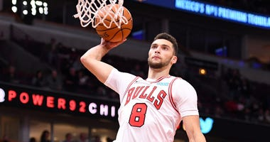 Bulls guard Zach LaVine goes up for a dunk.