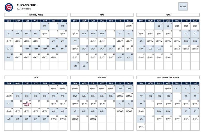 2021 Chicago Cubs Calendar