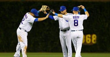 Cubs outfielders Kyle Schwarber, Albert Almora Jr. and Ian Happ