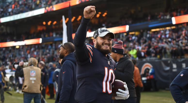 Bears quarterback Mitchell Trubisky celebrates after Chicago clinched the NFC North crown.