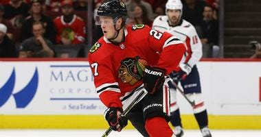 Blackhawks defenseman Adam Boqvist