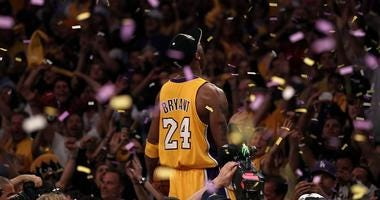 Kobe Bryant celebrates after the Lakers defeated the Celtics in the NBA Finals in 2010.
