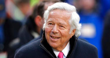 In this Jan. 20, 2019, file photo, New England Patriots owner Robert Kraft walks on the field before the AFC Championship NFL football game between the Kansas City Chiefs and the New England Patriots, in Kansas City, Mo.