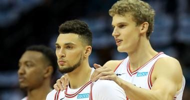 Bulls guard Zach LaVine, left, and power forward Lauri Markkanen