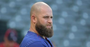 Mike Napoli with the Rangers in 2017