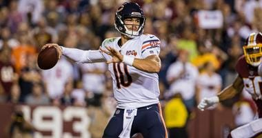 Bears quarterback Mitchell Trubisky looks to pass in a win against the Redskins.