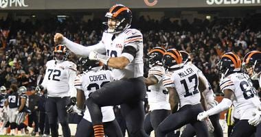 Bears quarterback Mitchell Trubisky (10) celebrates after throwing a touchdown pass against the Cowboys,