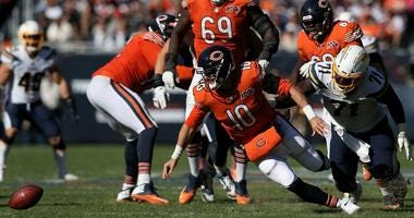 Bears quarterback Mitchell Trubisky (10) fumbles the ball in a loss to the Chargers.