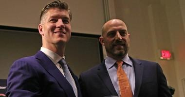 Bears general manager Ryan Pace, left, and coach Matt Nagy pose for a photograph after Nagy was hired.