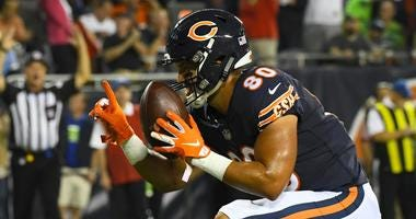 Bears tight end Trey Burton celebrates after scoring a touchdown against the Seahawks.