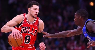Bulls guard Zach LaVine, left