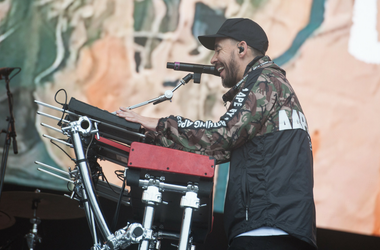 Mike Shinoda performs on stage on day 3 of Leeds Festival