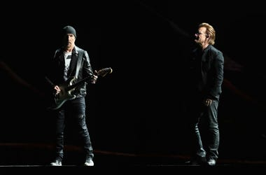 The Edge and Bono of U2 perform during The Joshua Tree Tour 2017 at University of Phoenix Stadium on September 19, 2017 in Glendale, Arizona.
