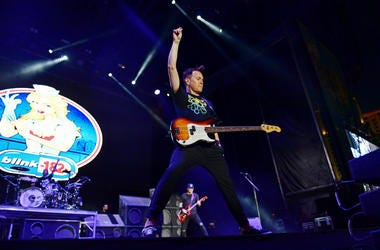 Mark Hoppus of Blink-182 performs