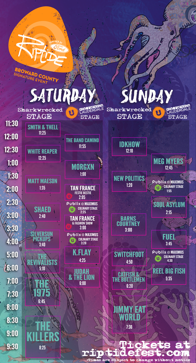 Riptide Music Festival Stage Times Schedule