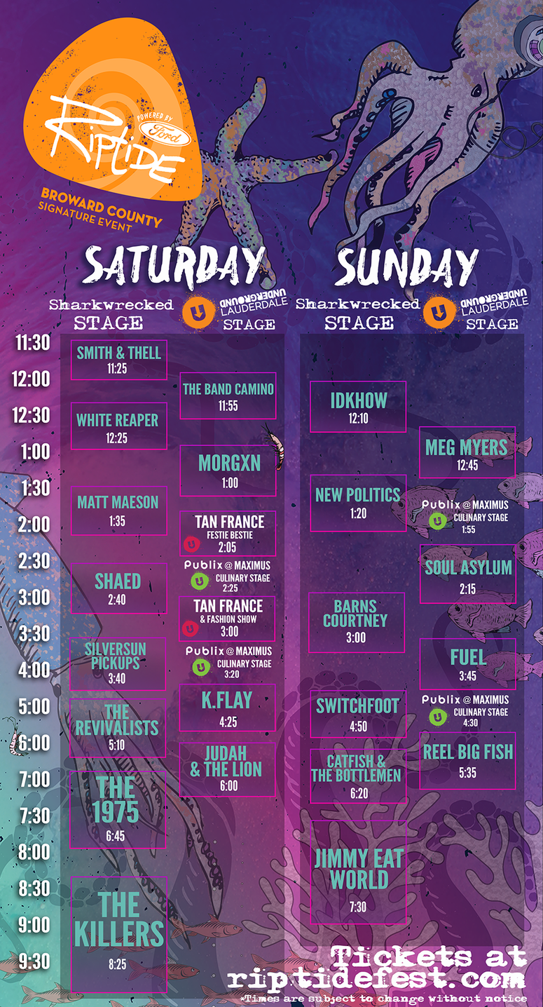Riptide Music Festival 2019 Schedule Stage Times