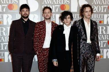 Ross McDonald, Matt Healy, George Daniel and Adam Hann of The 1975 attend The BRIT Awards 2017 at The O2 Arena on February 22, 2017 in London, England.