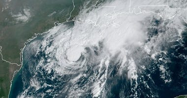 his GOES-16 GeoColor satellite image taken Saturday, Sept. 19, 2020, and provided by NOAA, shows Tropical Storm Beta, center, in the Gulf of Mexico. A hurricane watch is in effect Saturday for coastal Texas as Tropical Storm Beta gains strength.