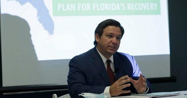 Florida Gov. Ron DeSantis speaks during a news conference at the old Pan American Hospital during the coronavirus pandemic, Tuesday in Miami.