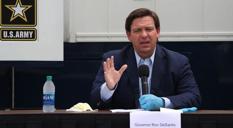 Florida Gov. Ron DeSantis speaks during a press conference at the Miami Beach Convention Center on April 08, 2020 in Miami Beach, Florida. Gov. DeSantis spoke about the U.S. Army Corp. of Engineers converting the convention center into a field hospital.