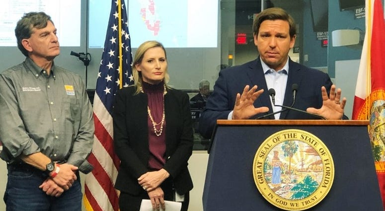 Florida Gov. Ron DeSantis speaks to reporters at the state emergency operations center in Tallahassee, Fla., Saturday, March 14, 2020. The governor on Saturday banned most visits to nursing homes statewide.