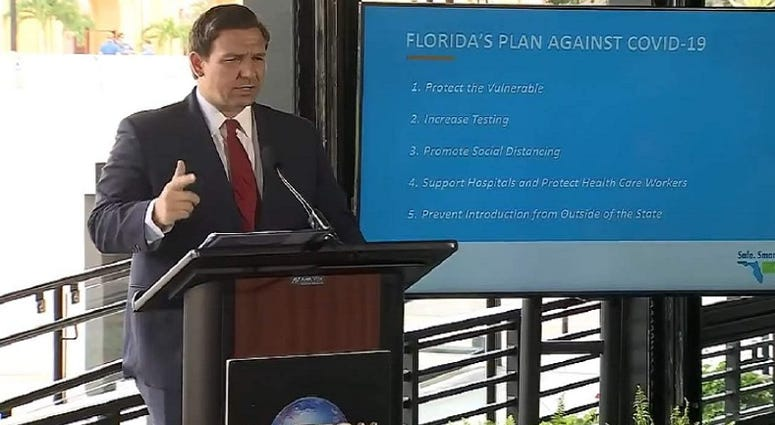 Florida Governor Ron DeSantis announces Phase 2 reopening at Universal Orlando Wednesday June 3, 2020.