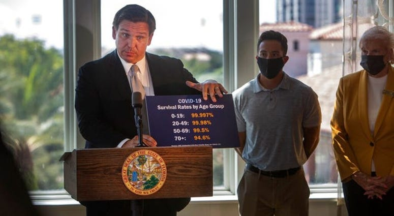 Gov. Ron DeSantis shows a card stating COVID-19 survival rates by age group as he announces phase three openings at news conference in St. Petersburg, Fla., on Friday, Sept. 25, 2020. DeSantis lifted all restrictions on restaurants and other businesses.