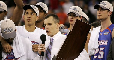 Head coach Billy Donovan of the Florida Gators talks to the fans after defeating the UCLA Bruins 73-57 during the National Championship game of the NCAA Men's Final Four on April 3, 2006 at the RCA Dome in Indianapolis, Indiana.