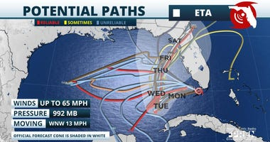 Tropical Storm Eta's projected paths uncertain as of 11-09-20