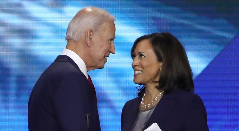 Democratic presidential candidates former Vice President Joe Biden and Sen. Kamala Harris (D-CA) speak after the Democratic Presidential Debate at Texas Southern University's Health and PE Center on September 12, 2019 in Houston, Texas.