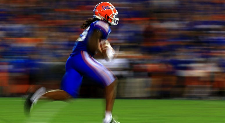 Tyrie Cleveland #89 of the Florida Gators runs after a catch during a game at Ben Hill Griffin Stadium on November 30, 2019 in Gainesville
