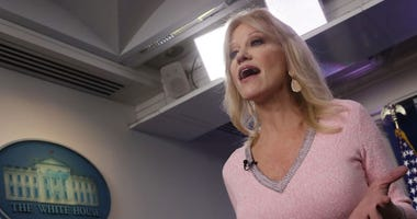 Counselor to US President Trump, Kellyanne Conway speaks to the media in the Brady Briefing Room at the White House.