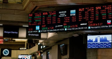 A sea of red hit the New York Stock Exchange as stock prices plunged for the second straight day on Tuesday, February 25, 2020 in New York City. Losses fueled by deepening concerns of the Coronavirus becoming a global pandemic.