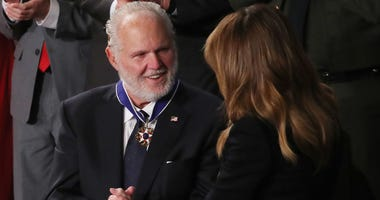 SKY talker Rush Limbaugh reacts after First Lady Melania Trump gives him the Presidential Medal of Freedom during the State of the Union address in the chamber of the U.S. House of Representatives on February 04, 2020 in Washington, DC.