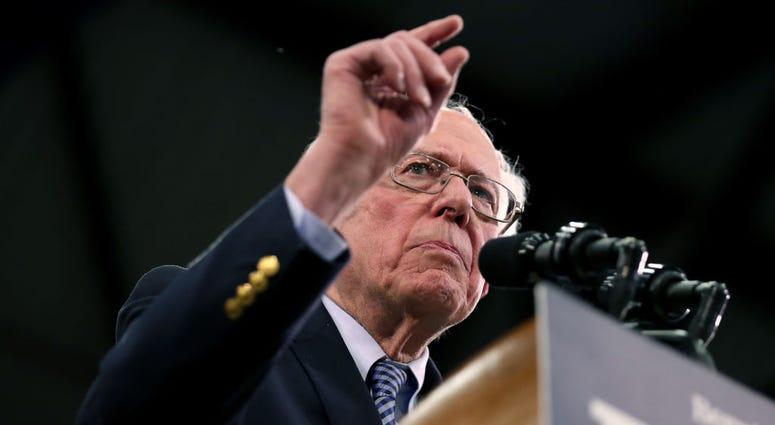 78-year-old Vermont senator Bernie Sanders campaigning for Democratic votes