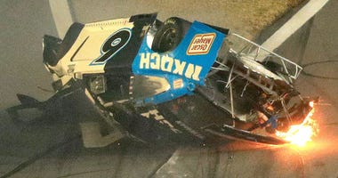 Ryan Newman, driver of the #6 Koch Industries Ford, crashes and flips during the NASCAR Cup Series 62nd Annual Daytona 500 at Daytona International Speedway on February 17, 2020 in Daytona Beach, Florida.
