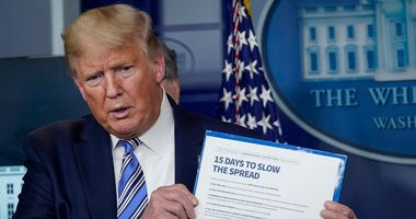 U.S. President Donald Trump speaks at the daily coronavirus briefing at the White House on March 23, 2020. The U.S. Congress continues to work on legislation for the nearly $2 trillion dollar aid package to deal with the COVID-19 pandemic.