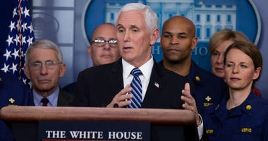 Vice President Mike Pence speaks to the media in the press briefing room at the White House on March 15, 2020 in Washington, DC. The United States has surpassed 3,000 confirmed cases of the coronavirus.