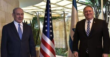 US Sec. of State Mike Pompeo visits with Benjamin Netanyahu in Jerusalem