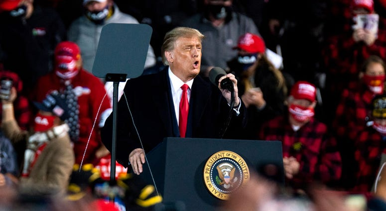 President Donald Trump speaks during a campaign rally at the Duluth International Airport on September 30, 2020 in Duluth, Minnesota. The rally is Trump's first after last night's Presidential Debate.